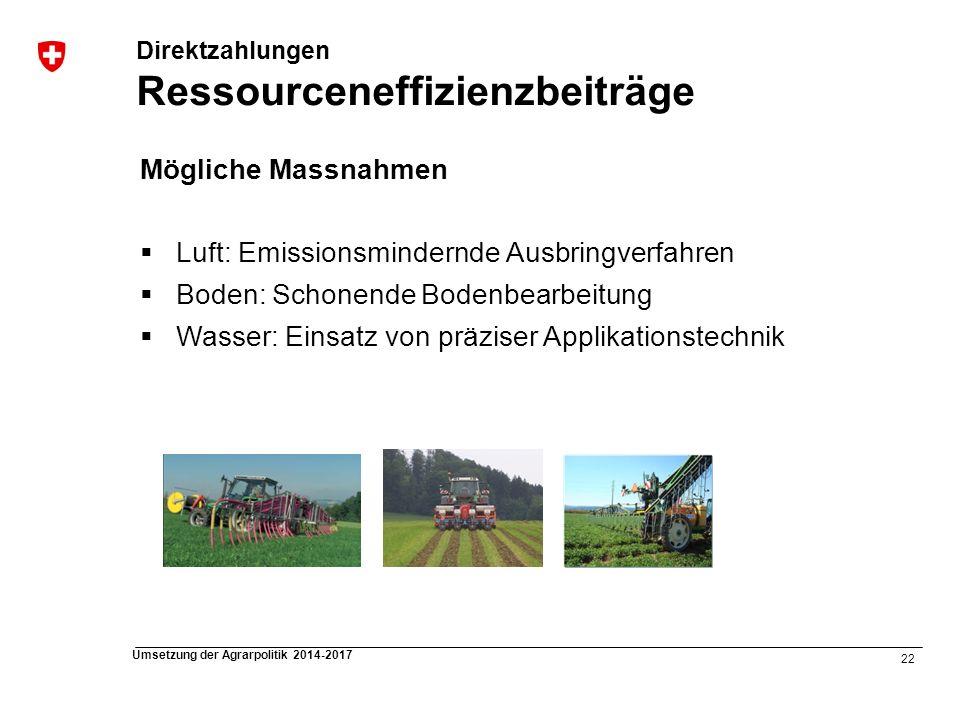 22 Umsetzung der Agrarpolitik 2014-2017 Direktzahlungen Ressourceneffizienzbeiträge Mögliche Massnahmen Luft: Emissionsmindernde Ausbringverfahren Bod