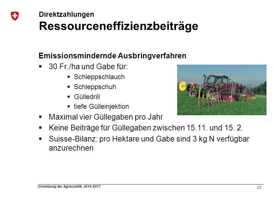 23 Umsetzung der Agrarpolitik 2014-2017 Direktzahlungen Ressourceneffizienzbeiträge Emissionsmindernde Ausbringverfahren 30 Fr./ha und Gabe für: Schle