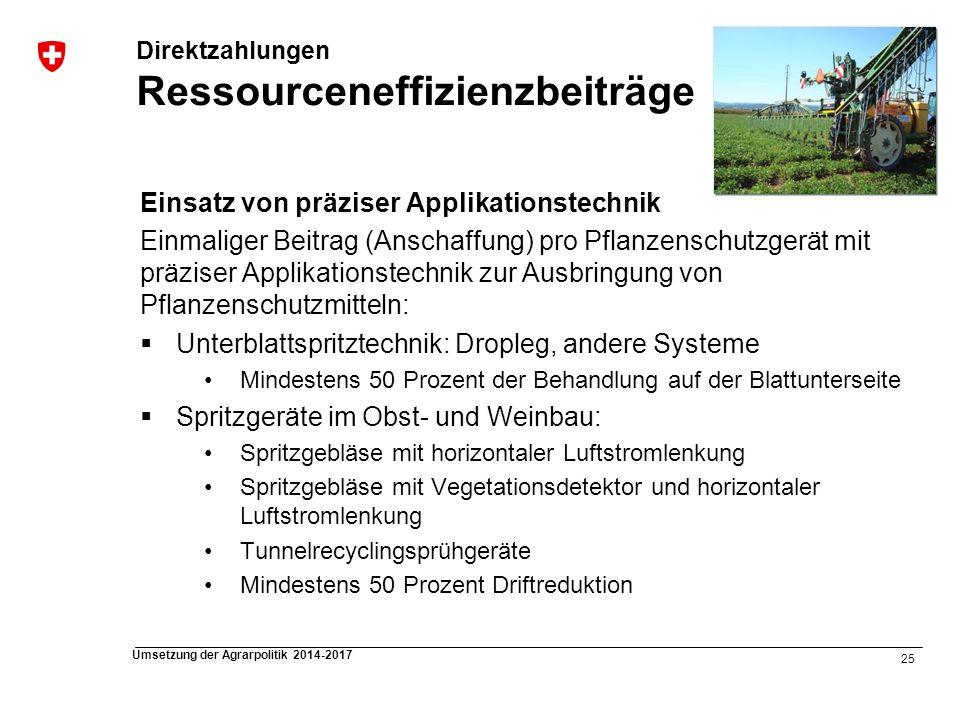 25 Umsetzung der Agrarpolitik 2014-2017 Direktzahlungen Ressourceneffizienzbeiträge Einsatz von präziser Applikationstechnik Einmaliger Beitrag (Ansch