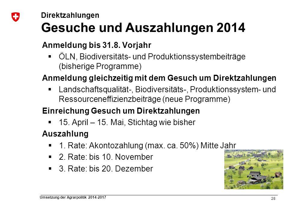 28 Umsetzung der Agrarpolitik 2014-2017 Direktzahlungen Gesuche und Auszahlungen 2014 Anmeldung bis 31.8. Vorjahr ÖLN, Biodiversitäts- und Produktions