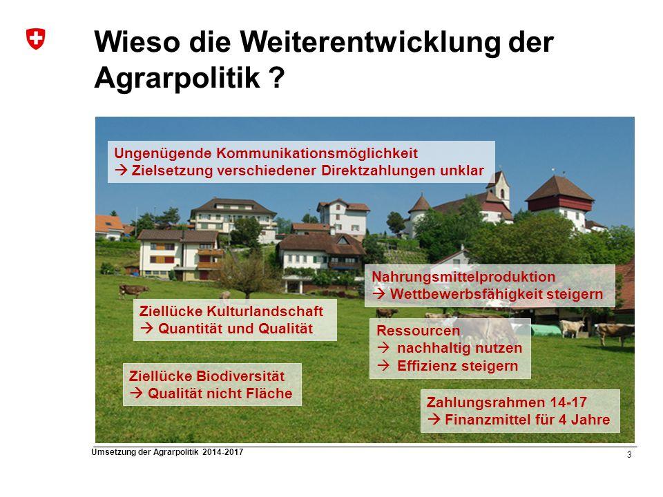 14 Umsetzung der Agrarpolitik 2014-2017 Direktzahlungen: Versorgungssicherheitsbeiträge Mindesttierbesatz (MTB) Auf Dauergrünfläche muss ein MTB an Raufutter verzehrenden Nutztieren erreicht werden Auf Biodiversitätsförderflächen (Dauergrünfläche) muss 30% des MTB erreicht werden Auf Kunstwiese ist kein MTB nötig Betrieben unter dem MTB wird Beitrag anteilsmässig ausgerichtet RGVE/ha Talzone1,0 Hügelzone0,8 Bergzone I0,7 Bergzone II0,6 Bergzone III0,5 Bergzone IV0,4
