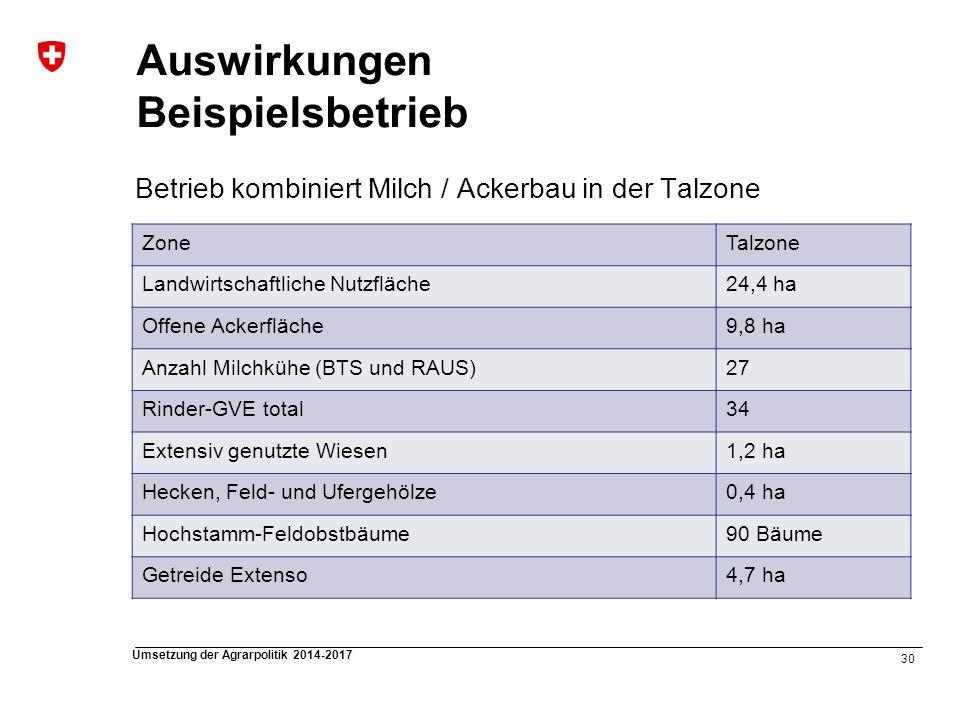30 Umsetzung der Agrarpolitik 2014-2017 Auswirkungen Beispielsbetrieb Betrieb kombiniert Milch / Ackerbau in der Talzone ZoneTalzone Landwirtschaftlic