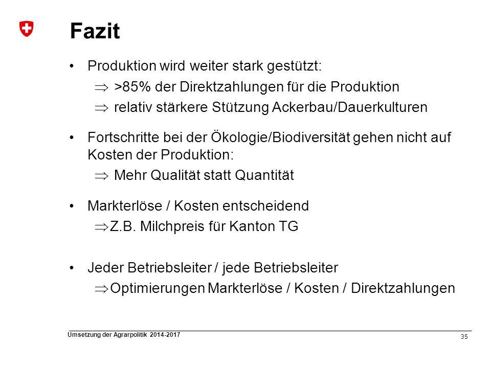 35 Umsetzung der Agrarpolitik 2014-2017 Fazit Produktion wird weiter stark gestützt: >85% der Direktzahlungen für die Produktion relativ stärkere Stüt