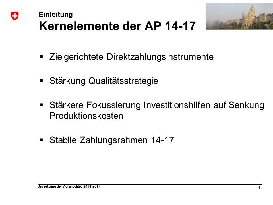 4 Umsetzung der Agrarpolitik 2014-2017 Einleitung Kernelemente der AP 14-17 Zielgerichtete Direktzahlungsinstrumente Stärkung Qualitätsstrategie Stärk