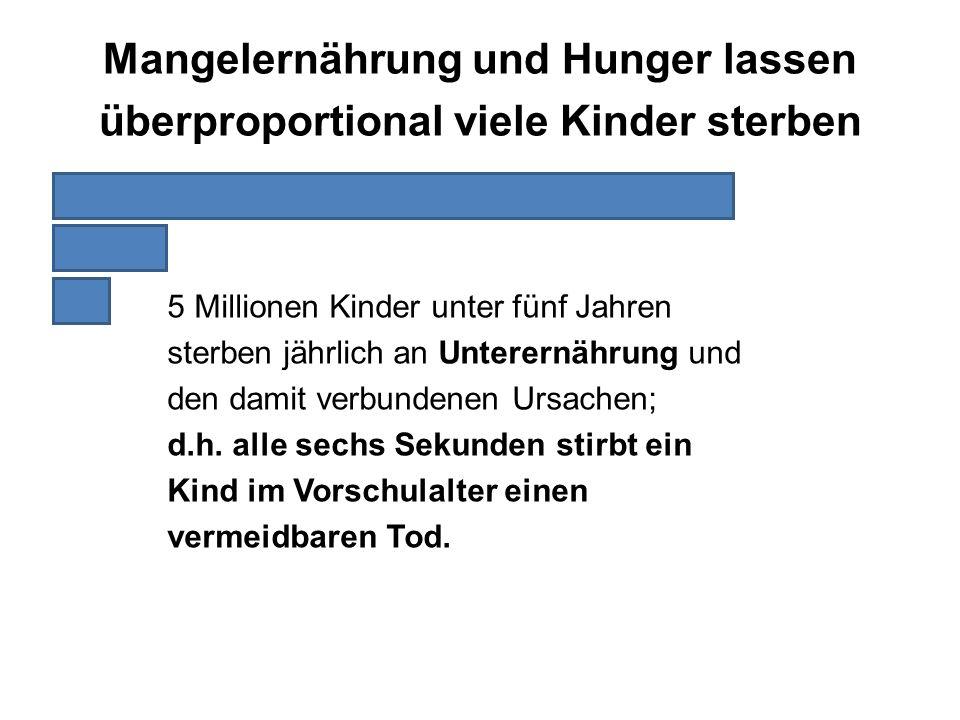 5 Millionen Kinder unter fünf Jahren sterben jährlich an Unterernährung und den damit verbundenen Ursachen; d.h. alle sechs Sekunden stirbt ein Kind i