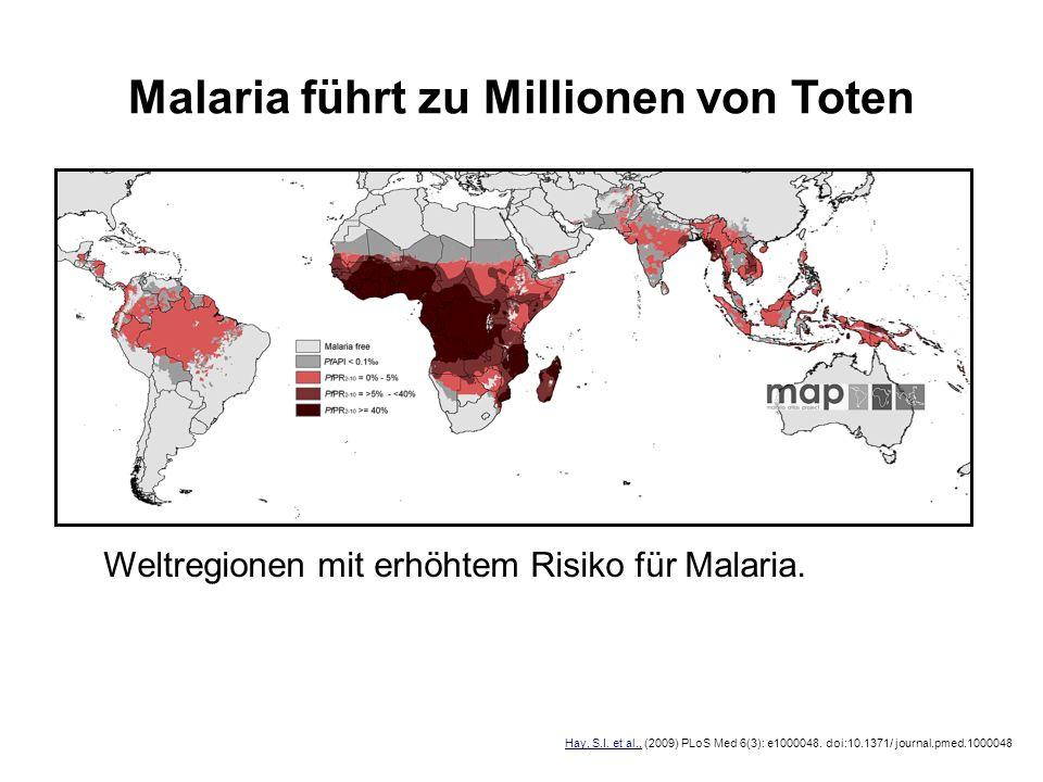 Malaria führt zu Millionen von Toten Weltregionen mit erhöhtem Risiko für Malaria. Hay, S.I. et al., (2009) PLoS Med 6(3): e1000048. doi:10.1371/ jour