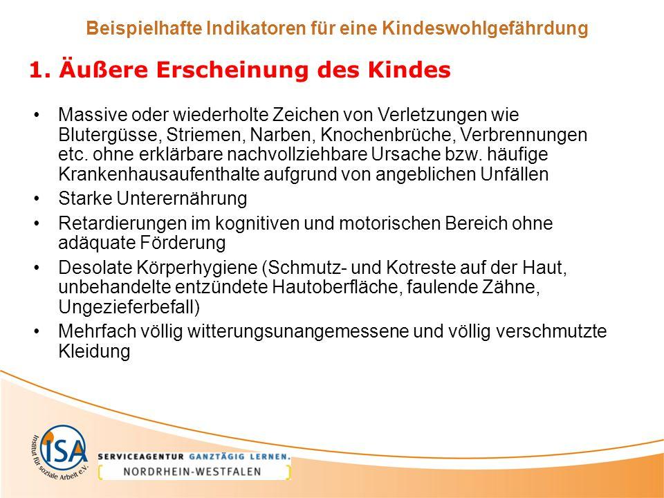 Beispielhafte Indikatoren für eine Kindeswohlgefährdung 1.
