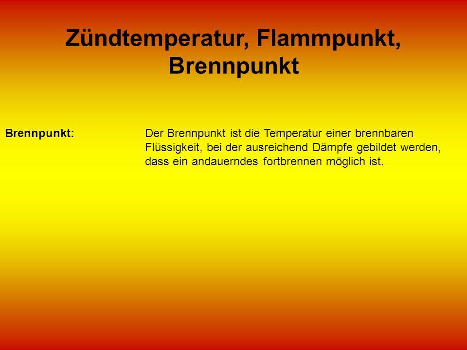 Zündtemperatur, Flammpunkt, Brennpunkt Brennpunkt:Der Brennpunkt ist die Temperatur einer brennbaren Flüssigkeit, bei der ausreichend Dämpfe gebildet