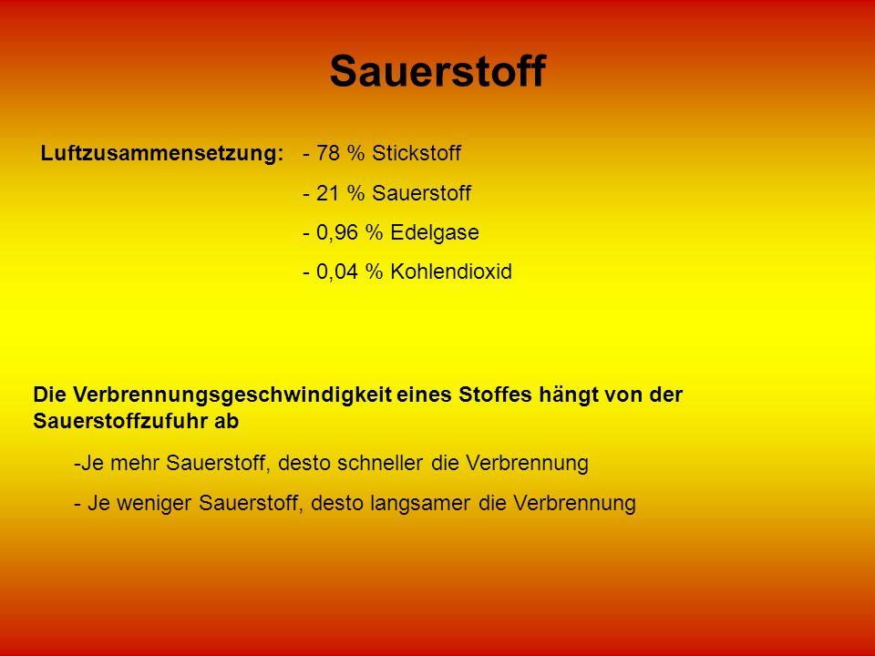 Sauerstoff Luftzusammensetzung:- 78 % Stickstoff - 21 % Sauerstoff - 0,96 % Edelgase - 0,04 % Kohlendioxid Die Verbrennungsgeschwindigkeit eines Stoff