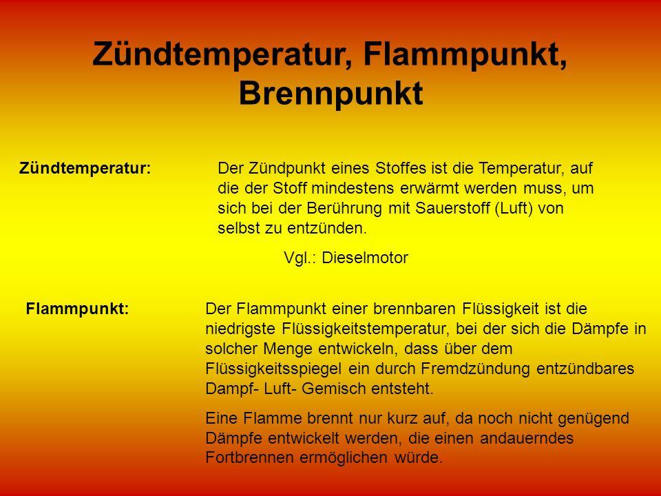 Zündtemperatur, Flammpunkt, Brennpunkt Zündtemperatur:Der Zündpunkt eines Stoffes ist die Temperatur, auf die der Stoff mindestens erwärmt werden muss