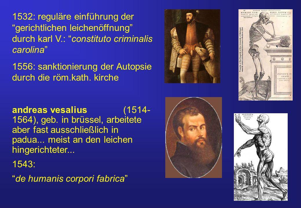 1532: reguläre einführung der gerichtlichen leichenöffnung durch karl V.: constituto criminalis carolina 1556: sanktionierung der Autopsie durch die röm.kath.