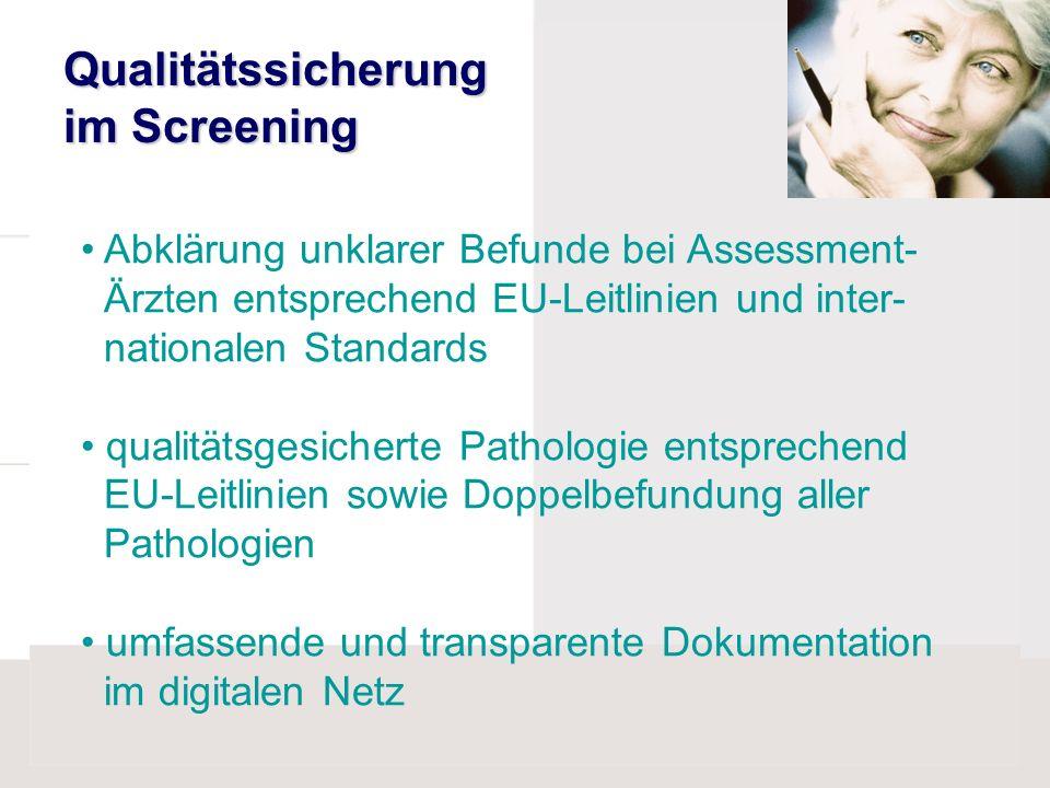 Abklärung unklarer Befunde bei Assessment- Ärzten entsprechend EU-Leitlinien und inter- nationalen Standards qualitätsgesicherte Pathologie entspreche