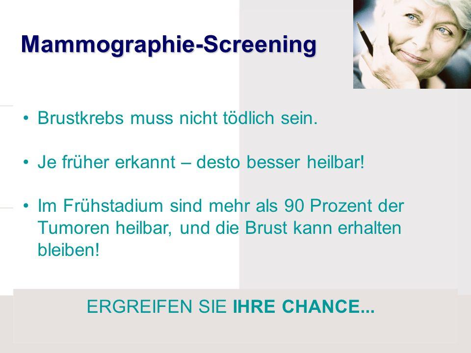 Mammographie-Screening Brustkrebs muss nicht tödlich sein. Je früher erkannt – desto besser heilbar! Im Frühstadium sind mehr als 90 Prozent der Tumor