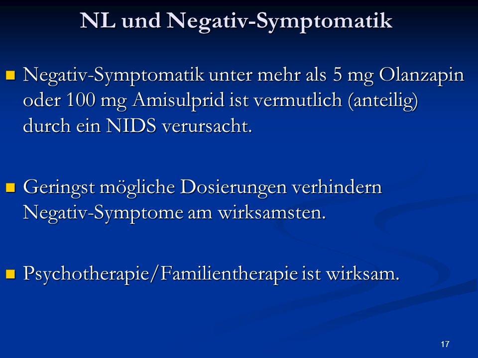 17 NL und Negativ-Symptomatik Negativ-Symptomatik unter mehr als 5 mg Olanzapin oder 100 mg Amisulprid ist vermutlich (anteilig) durch ein NIDS verursacht.