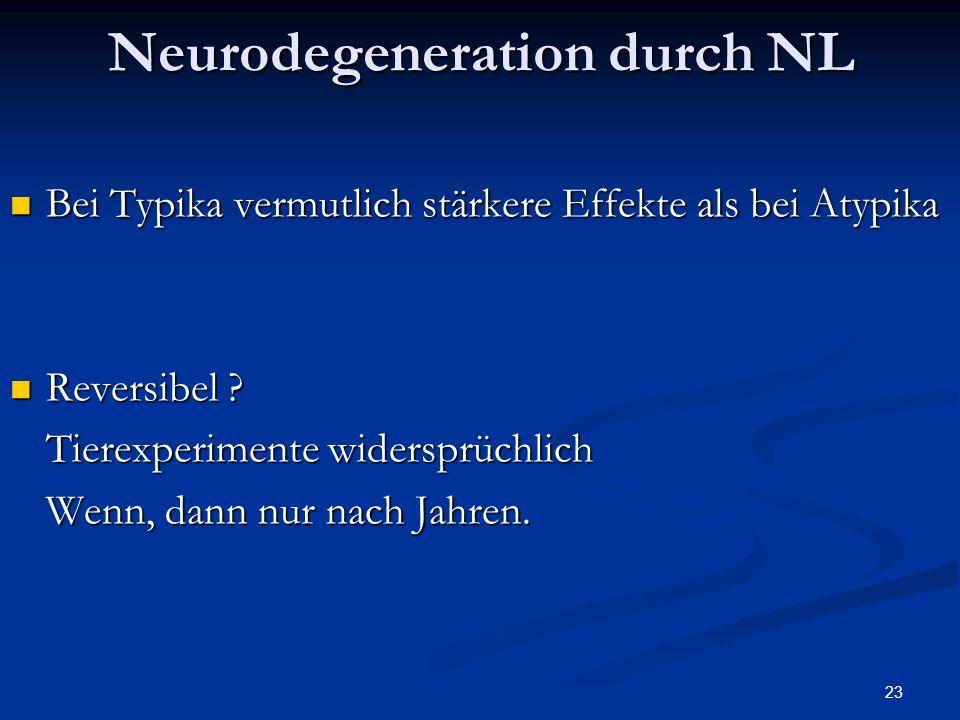 23 Neurodegeneration durch NL Bei Typika vermutlich stärkere Effekte als bei Atypika Bei Typika vermutlich stärkere Effekte als bei Atypika Reversibel .