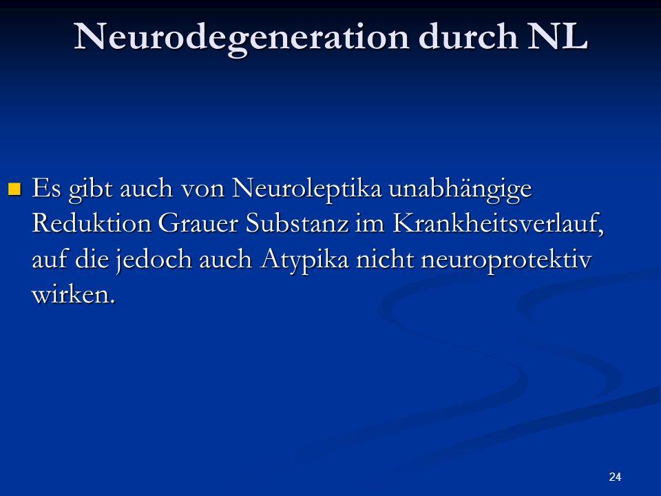 24 Es gibt auch von Neuroleptika unabhängige Reduktion Grauer Substanz im Krankheitsverlauf, auf die jedoch auch Atypika nicht neuroprotektiv wirken.