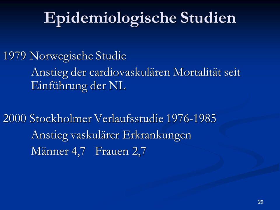 29 Epidemiologische Studien 1979 Norwegische Studie Anstieg der cardiovaskulären Mortalität seit Einführung der NL 2000 Stockholmer Verlaufsstudie 1976-1985 Anstieg vaskulärer Erkrankungen Männer 4,7 Frauen 2,7