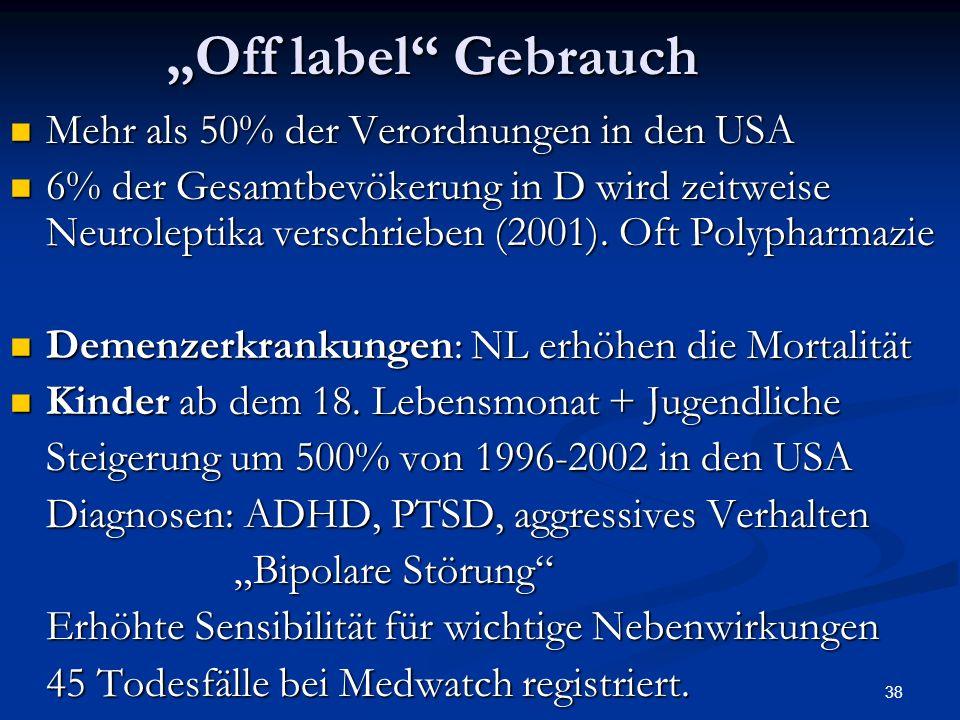 38 Off label Gebrauch Mehr als 50% der Verordnungen in den USA Mehr als 50% der Verordnungen in den USA 6% der Gesamtbevökerung in D wird zeitweise Neuroleptika verschrieben (2001).