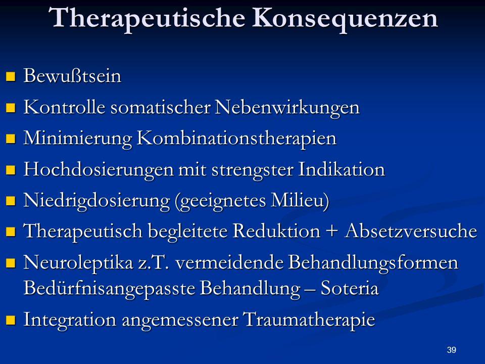 39 Therapeutische Konsequenzen Bewußtsein Bewußtsein Kontrolle somatischer Nebenwirkungen Kontrolle somatischer Nebenwirkungen Minimierung Kombinationstherapien Minimierung Kombinationstherapien Hochdosierungen mit strengster Indikation Hochdosierungen mit strengster Indikation Niedrigdosierung (geeignetes Milieu) Niedrigdosierung (geeignetes Milieu) Therapeutisch begleitete Reduktion + Absetzversuche Therapeutisch begleitete Reduktion + Absetzversuche Neuroleptika z.T.