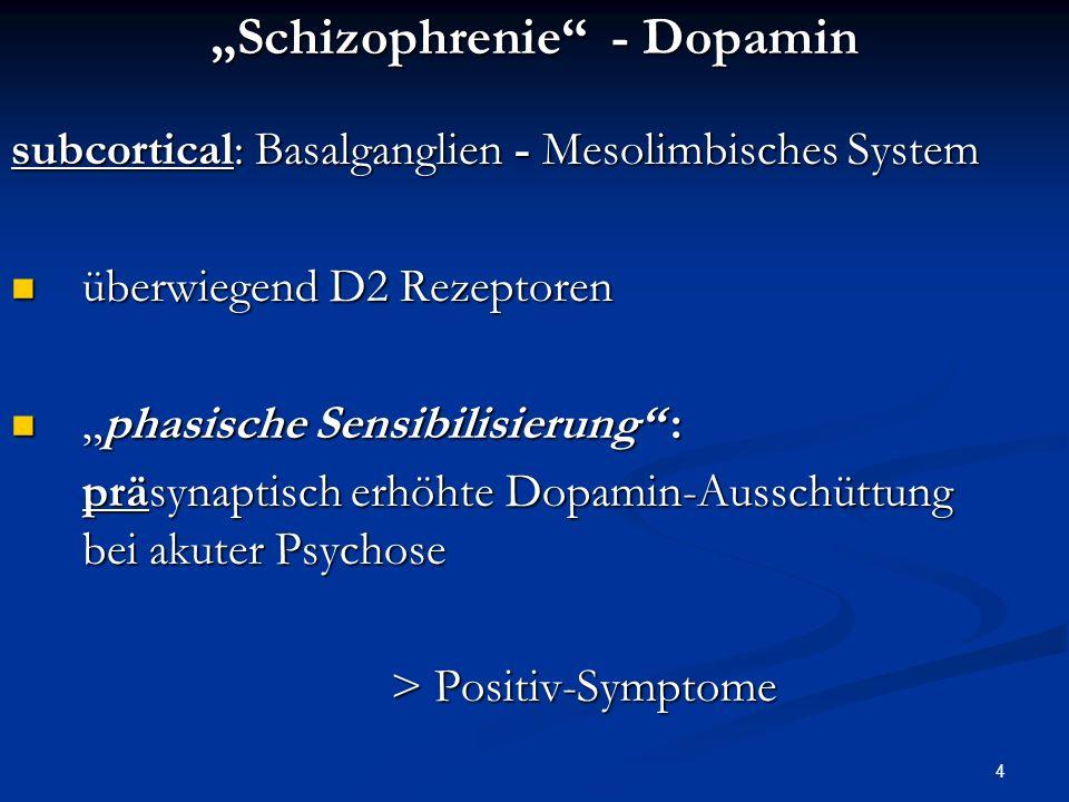 4 Schizophrenie - Dopamin subcortical: Basalganglien - Mesolimbisches System überwiegend D2 Rezeptoren überwiegend D2 Rezeptoren phasische Sensibilisierung :phasische Sensibilisierung : präsynaptisch erhöhte Dopamin-Ausschüttung bei akuter Psychose > Positiv-Symptome > Positiv-Symptome