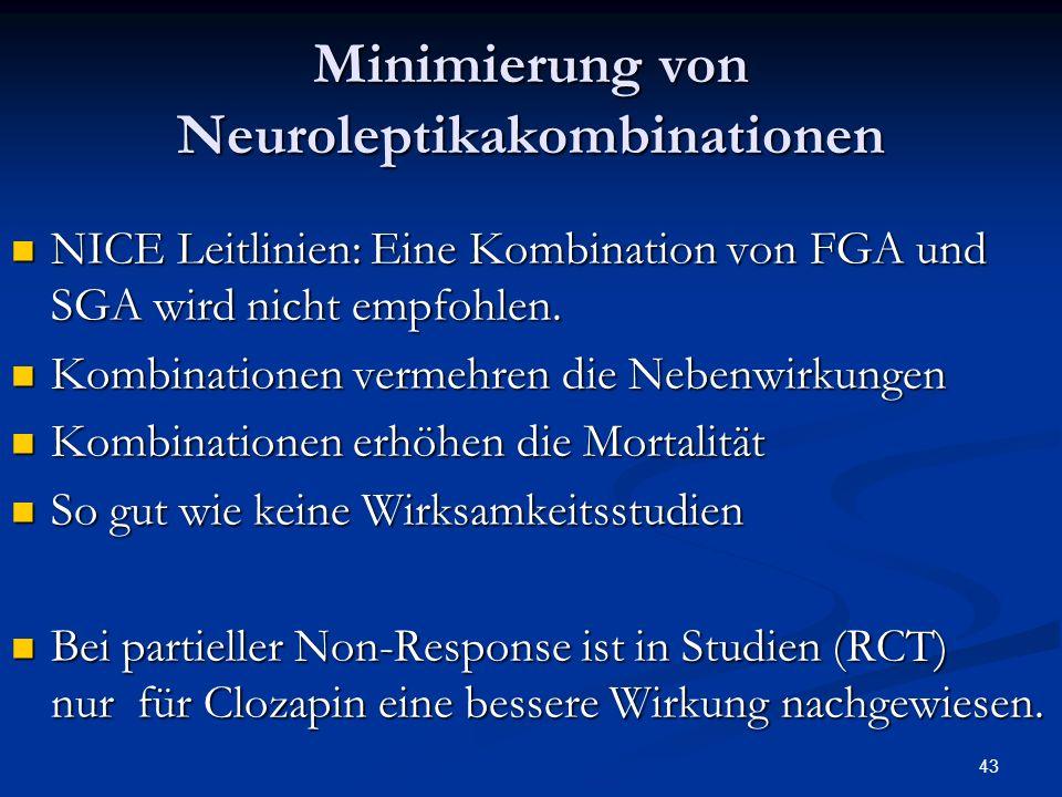 43 Minimierung von Neuroleptikakombinationen NICE Leitlinien: Eine Kombination von FGA und SGA wird nicht empfohlen.