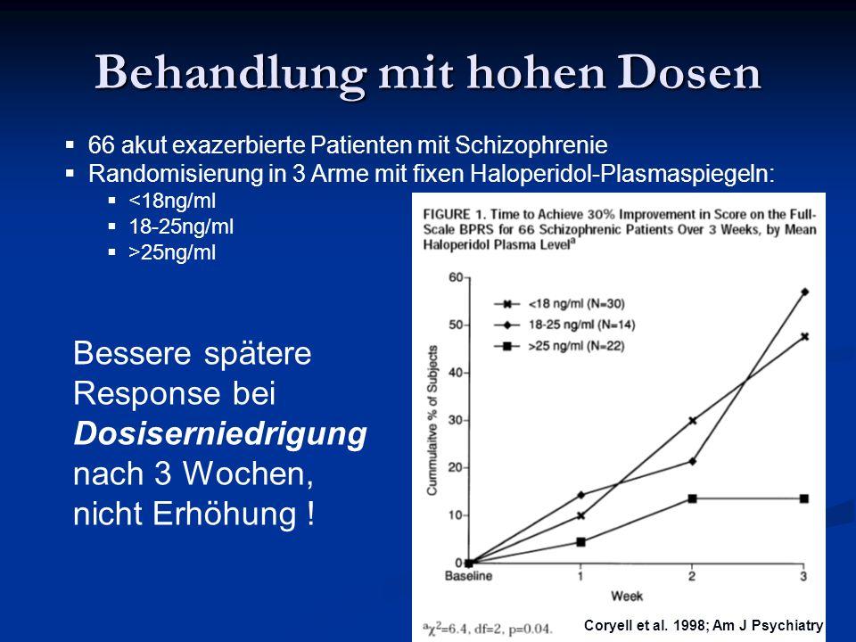 47 Behandlung mit hohen Dosen 66 akut exazerbierte Patienten mit Schizophrenie Randomisierung in 3 Arme mit fixen Haloperidol-Plasmaspiegeln: <18ng/ml 18-25ng/ml >25ng/ml Coryell et al.