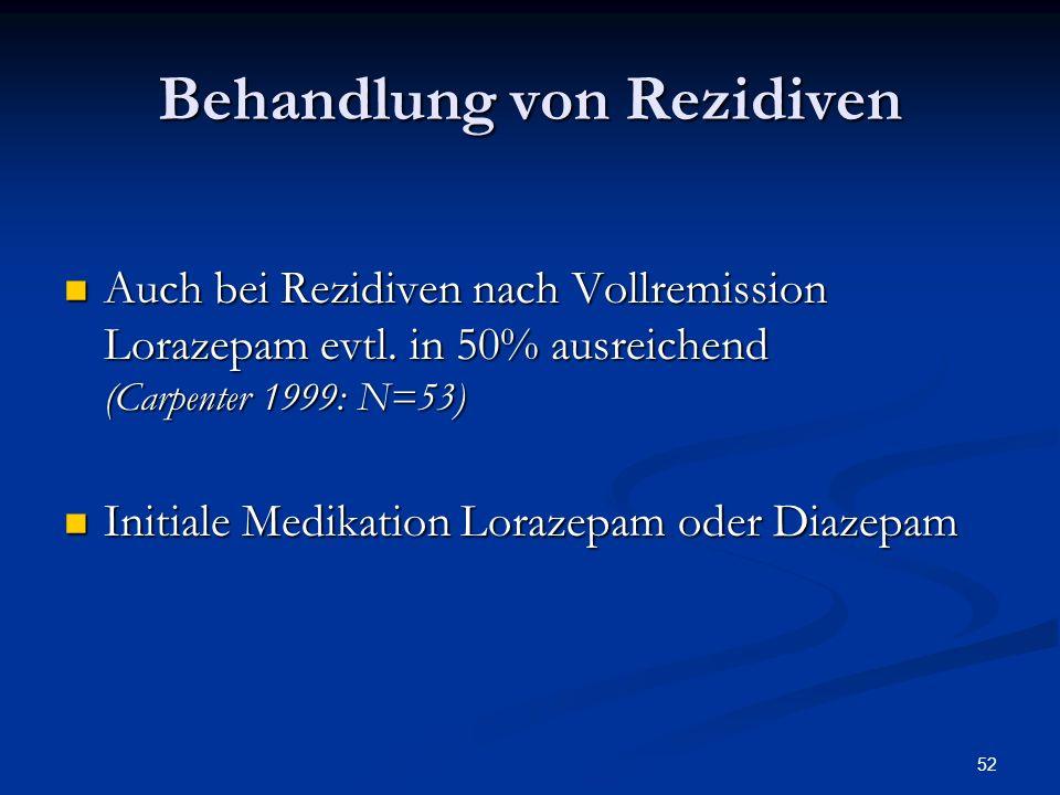 52 Behandlung von Rezidiven Auch bei Rezidiven nach Vollremission Lorazepam evtl.