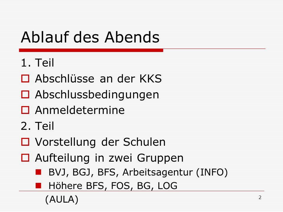 Ablauf des Abends 1. Teil Abschlüsse an der KKS Abschlussbedingungen Anmeldetermine 2. Teil Vorstellung der Schulen Aufteilung in zwei Gruppen BVJ, BG