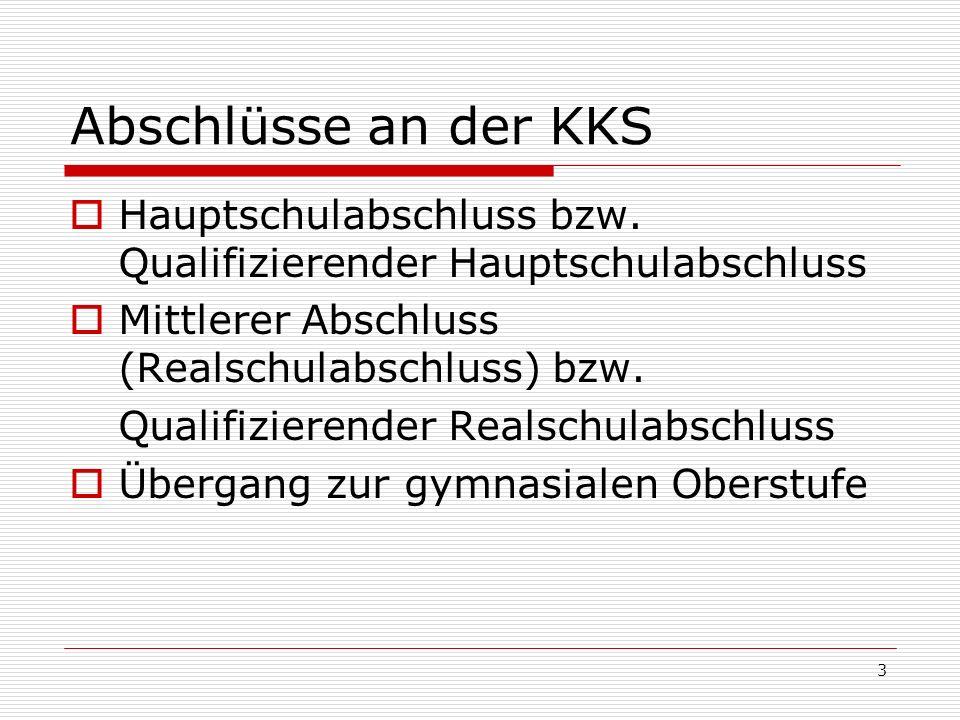 Abschlüsse an der KKS Hauptschulabschluss bzw. Qualifizierender Hauptschulabschluss Mittlerer Abschluss (Realschulabschluss) bzw. Qualifizierender Rea