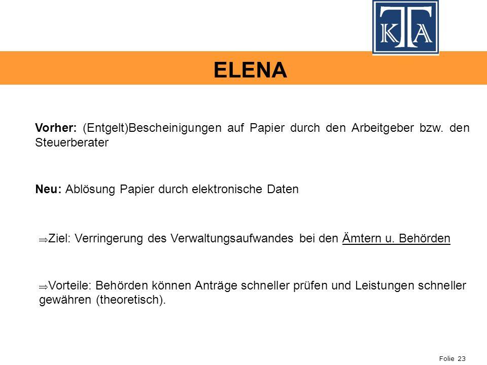 Folie 23 ELENA Vorher: (Entgelt)Bescheinigungen auf Papier durch den Arbeitgeber bzw. den Steuerberater Neu: Ablösung Papier durch elektronische Daten