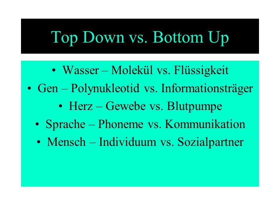 Top Down vs. Bottom Up Wasser – Molekül vs. Flüssigkeit Gen – Polynukleotid vs. Informationsträger Herz – Gewebe vs. Blutpumpe Sprache – Phoneme vs. K