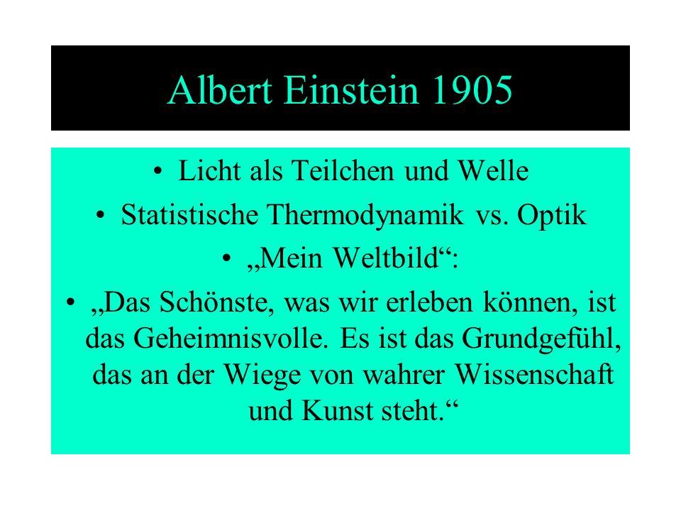 Albert Einstein 1905 Licht als Teilchen und Welle Statistische Thermodynamik vs. Optik Mein Weltbild: Das Schönste, was wir erleben können, ist das Ge