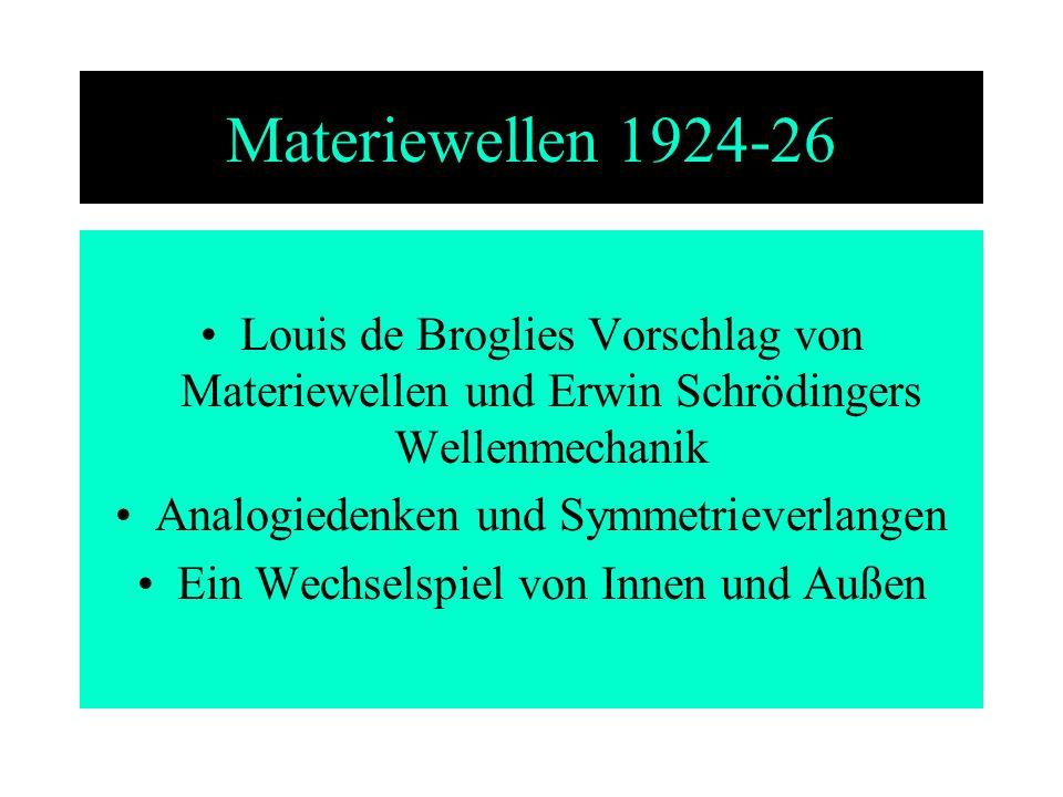 Materiewellen 1924-26 Louis de Broglies Vorschlag von Materiewellen und Erwin Schrödingers Wellenmechanik Analogiedenken und Symmetrieverlangen Ein We