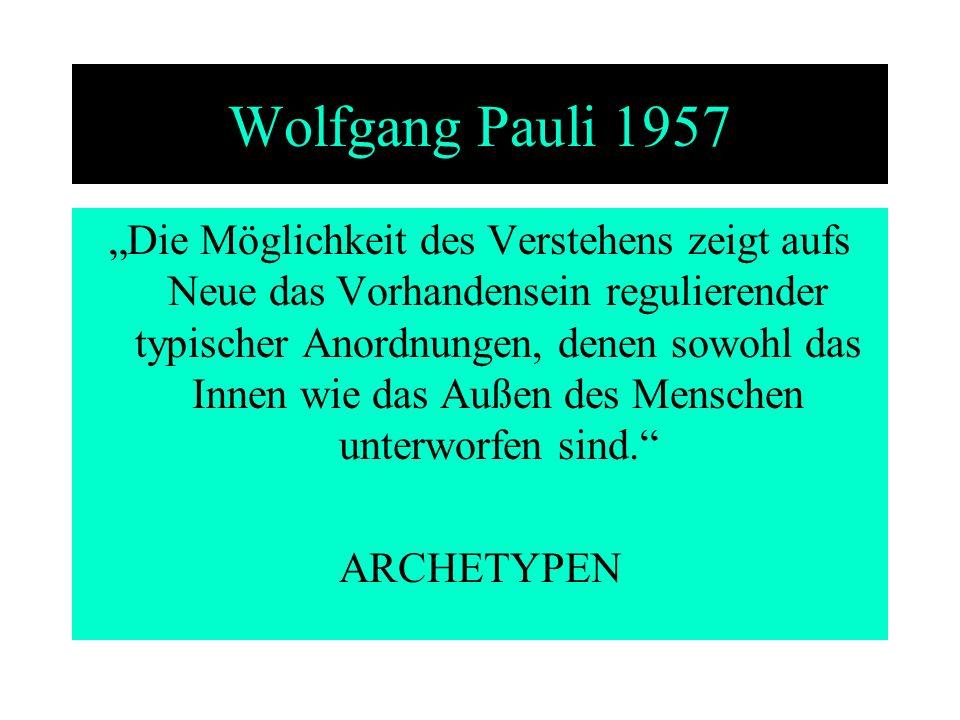 Wolfgang Pauli 1957 Die Möglichkeit des Verstehens zeigt aufs Neue das Vorhandensein regulierender typischer Anordnungen, denen sowohl das Innen wie d