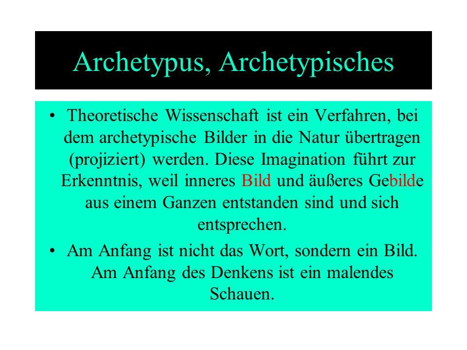 Archetypus, Archetypisches Theoretische Wissenschaft ist ein Verfahren, bei dem archetypische Bilder in die Natur übertragen (projiziert) werden. Dies