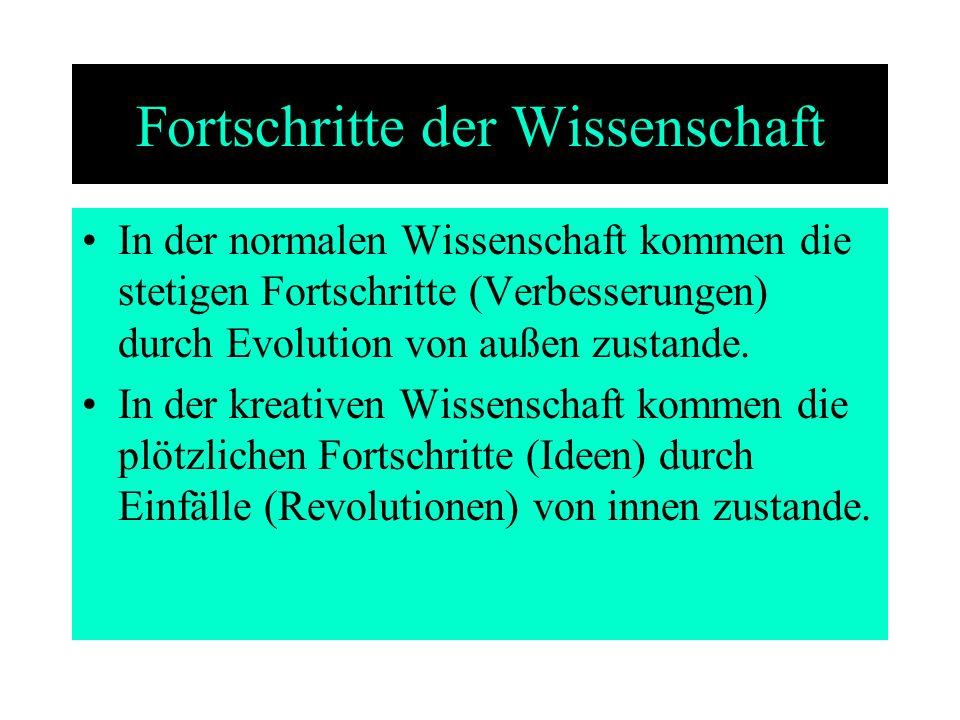 Fortschritte der Wissenschaft In der normalen Wissenschaft kommen die stetigen Fortschritte (Verbesserungen) durch Evolution von außen zustande. In de