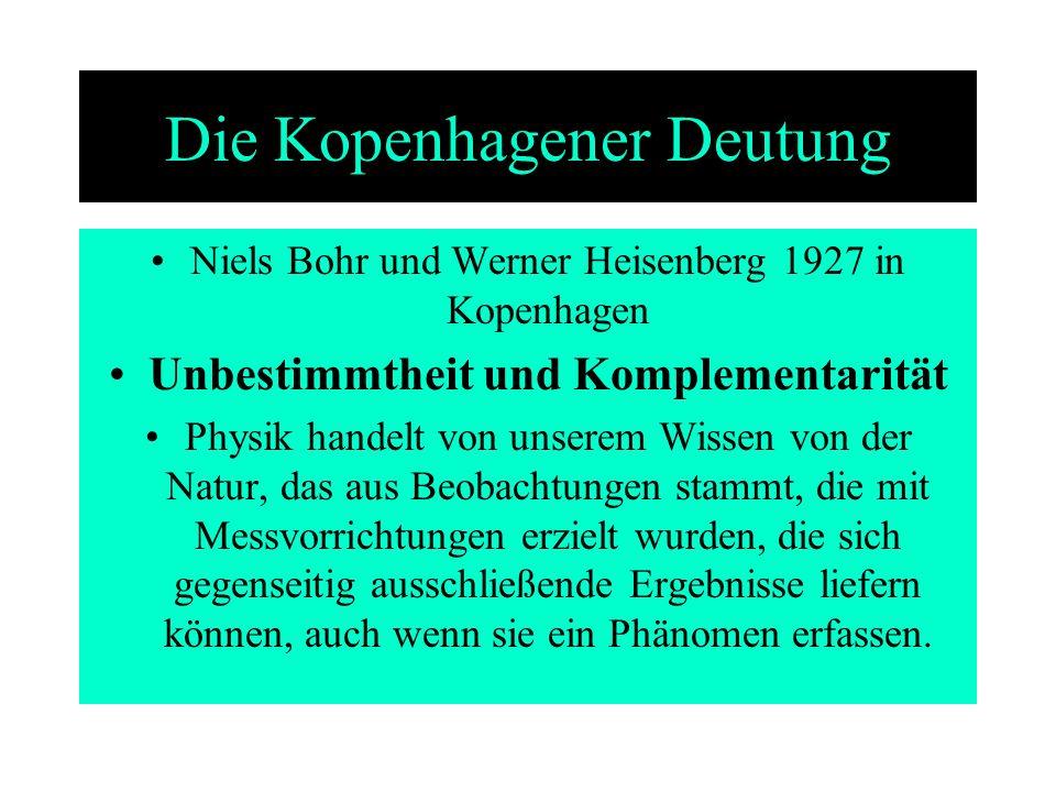 Die Kopenhagener Deutung Niels Bohr und Werner Heisenberg 1927 in Kopenhagen Unbestimmtheit und Komplementarität Physik handelt von unserem Wissen von