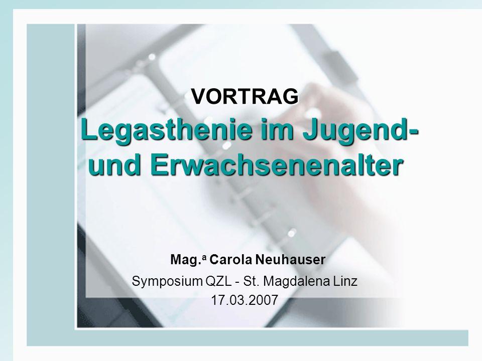 VORTRAG Legasthenie im Jugend- und Erwachsenenalter Mag. a Carola Neuhauser Symposium QZL - St. Magdalena Linz 17.03.2007