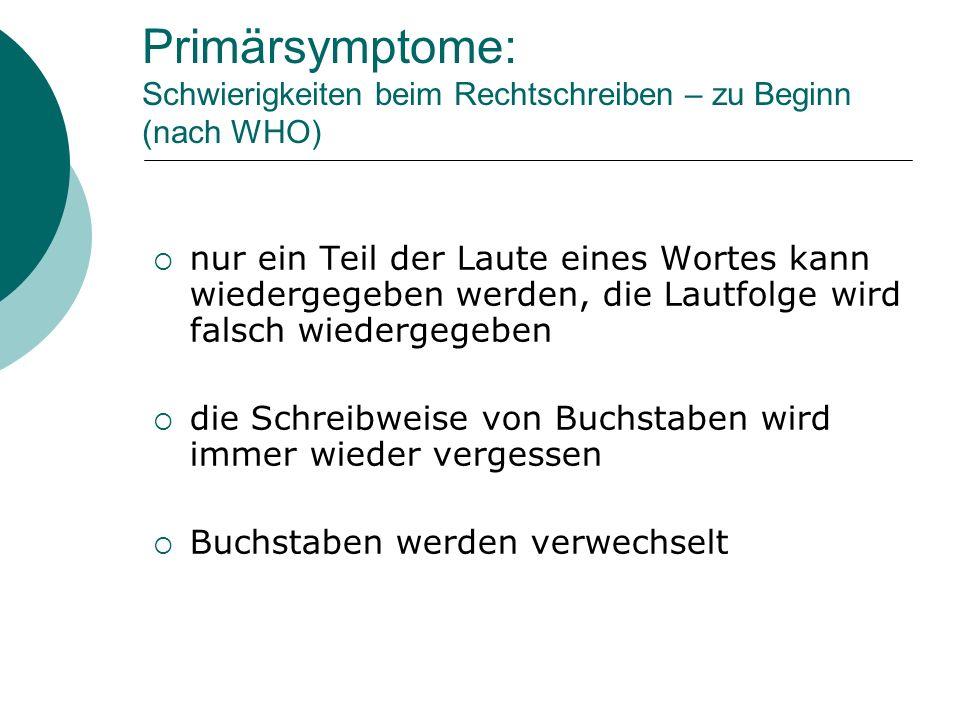 Primärsymptome: Schwierigkeiten beim Rechtschreiben – zu Beginn (nach WHO) nur ein Teil der Laute eines Wortes kann wiedergegeben werden, die Lautfolg