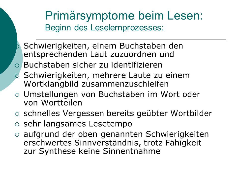 Primärsymptome beim Lesen: Beginn des Leselernprozesses: Schwierigkeiten, einem Buchstaben den entsprechenden Laut zuzuordnen und Buchstaben sicher zu