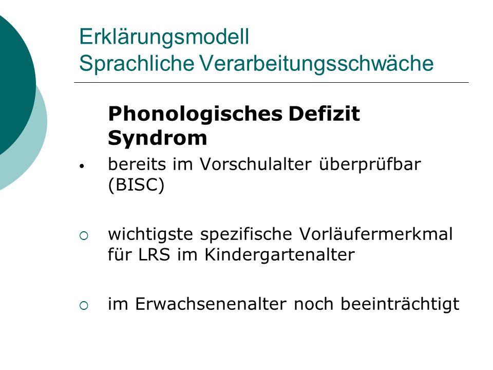 Erklärungsmodell Sprachliche Verarbeitungsschwäche Phonologisches Defizit Syndrom bereits im Vorschulalter überprüfbar (BISC) wichtigste spezifische V