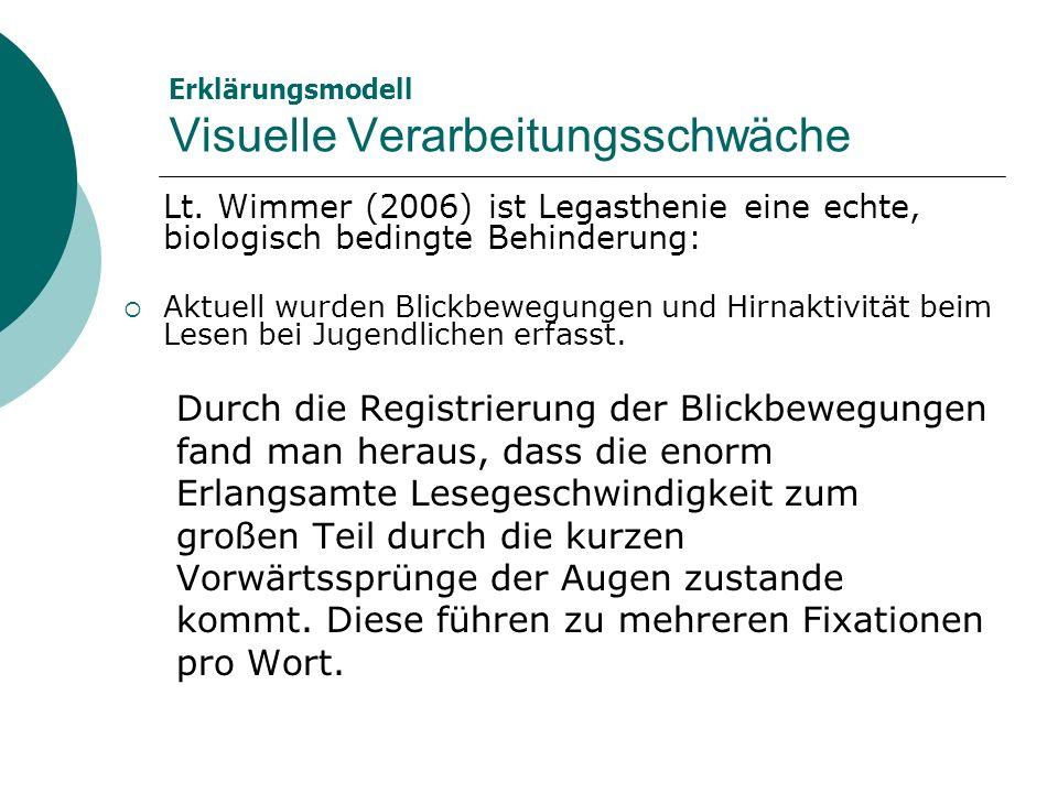 Erklärungsmodell Visuelle Verarbeitungsschwäche Lt. Wimmer (2006) ist Legasthenie eine echte, biologisch bedingte Behinderung: Aktuell wurden Blickbew