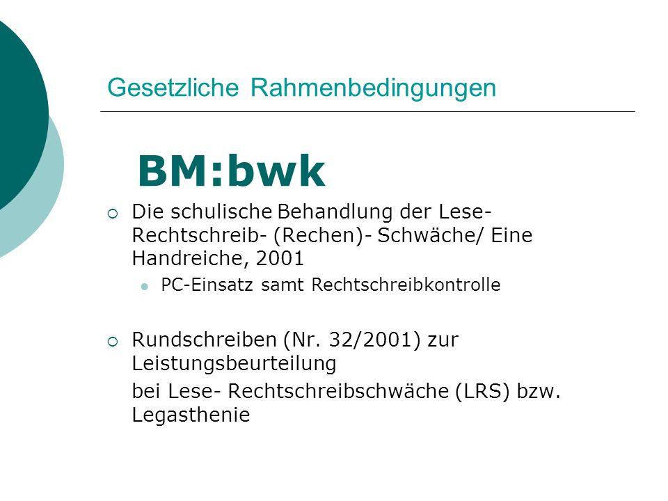 Gesetzliche Rahmenbedingungen BM:bwk Die schulische Behandlung der Lese- Rechtschreib- (Rechen)- Schwäche/ Eine Handreiche, 2001 PC-Einsatz samt Recht