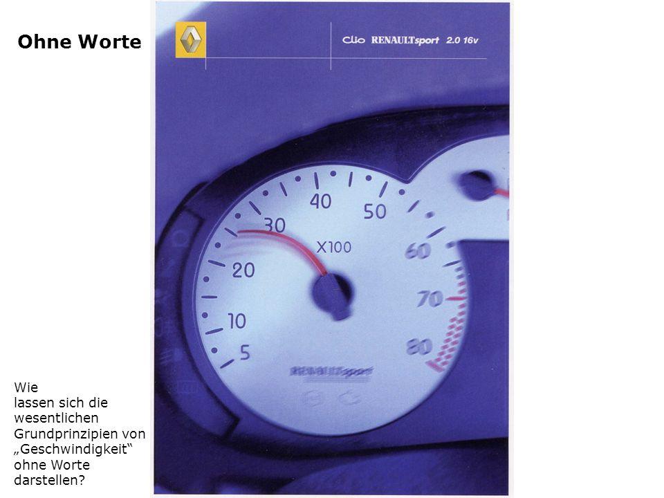 Ohne Worte Wie lassen sich die wesentlichen Grundprinzipien von Geschwindigkeit ohne Worte darstellen?