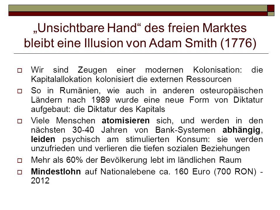 Unsichtbare Hand des freien Marktes bleibt eine Illusion von Adam Smith (1776) Wir sind Zeugen einer modernen Kolonisation: die Kapitalallokation kolo