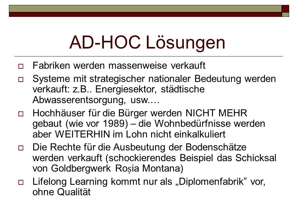 AD-HOC Lösungen Fabriken werden massenweise verkauft Systeme mit strategischer nationaler Bedeutung werden verkauft: z.B.. Energiesektor, städtische A