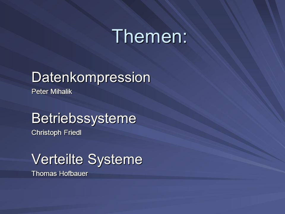 Betriebssysteme Betriebssysteme für parallele Rechensysteme Architektur des Betriebssystems hängt von der Architektur des Rechensystems ab: –Symmetrische Multiprozessoren: ein gemeinsamer Speicher liegt vor; alle Prozessoren greifen darauf zu –Lokale Speicher: Zustandsinformationen werden verteilt; die Betriebssysteme arbeiten unabhängig voneinander