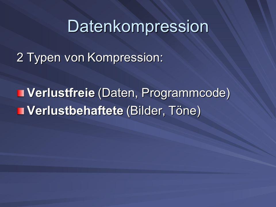Datenkompression Vier wichtigsten Kriterien des Kompresionsverfahrens sind: Kompressionsrate Zeitaufwand (Kompress., Dekompress.) Hardware/Software Aufwand Standardisierung des Verfahrens
