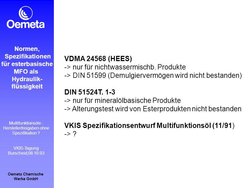 Oemeta Chemische Werke GmbH Multifunktionsöle - Herstellerfreigaben ohne Spezifikation ? VKIS-Tagung Burscheid,08.10.03 Normen, Spezifikationen für es