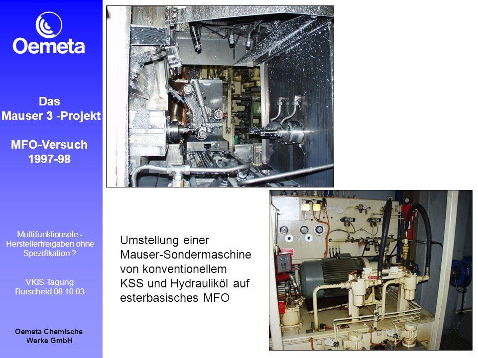 Oemeta Chemische Werke GmbH Multifunktionsöle - Herstellerfreigaben ohne Spezifikation ? VKIS-Tagung Burscheid,08.10.03 Das Mauser 3 -Projekt MFO-Vers